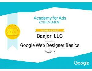 Banjori LLC Google Web Designer Basics Certificate