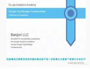 Banjori LLC Tag Manager Fundamentals Certificate