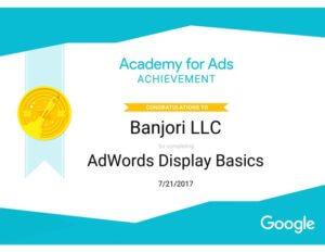 Banjori LLC Doubleclick AdWord Display Basic Certificate