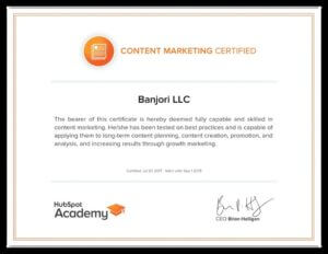 Banjori LLC Hubspot Content Mkting Certification