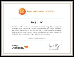 Banjori LLC Hubspot Email Mkting Certification