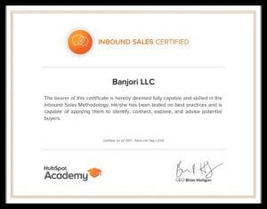 Banjori LLC Hubspot Inbound Sales Certification