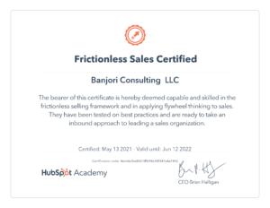 Hubspot frictionless Sales Certification