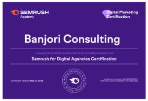 SEMrush-Academy-Digital Agencies Certification.