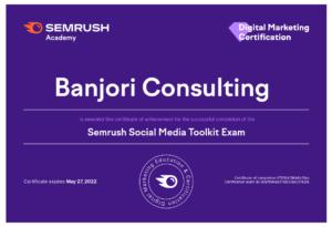 SEMrush-Academy Social Media Toolkit Certification